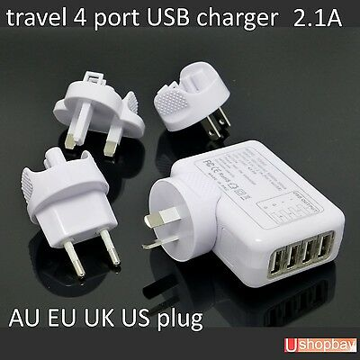 AU18.50 • Buy Travel 4 Port USB Charger 2.1A Wall Power Adapter US/EU/UK/AU Samsung IPhone 6