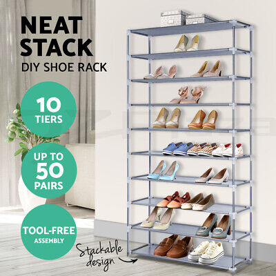 AU26.95 • Buy Stackable Shoe Rack Racks Cabinet Storage Shelves 10 Tiers Shoes Stand Organiser