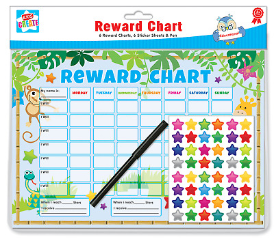 Pack Of 6 Jungle Childrens Reward Behaviour Charts With Star Stickers & Pen CHAR • 2.45£