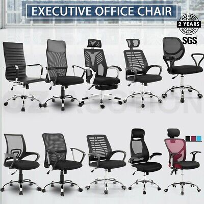 AU89.95 • Buy PU Leather & Mesh Office Chair Computer Eames Replica Home Executive Seat