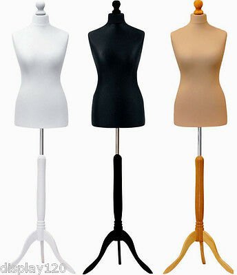 Size 10-12 White Cream Black Female Dressmakers Sewing Dummy Display Mannequin • 26.90£