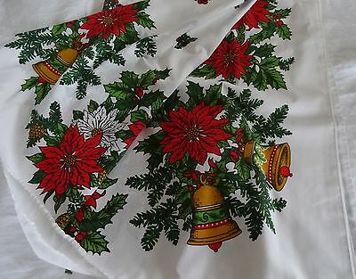 $ CDN24.99 • Buy Vintage Printed Cotton CHRISTMAS TABLECLOTH Poinsettias Gold Bells