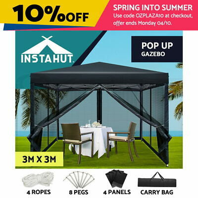 AU125.90 • Buy Instahut Gazebo Pop Up Marquee 3x3 Wedding Side Mesh Wall Outdoor Gazebos Black