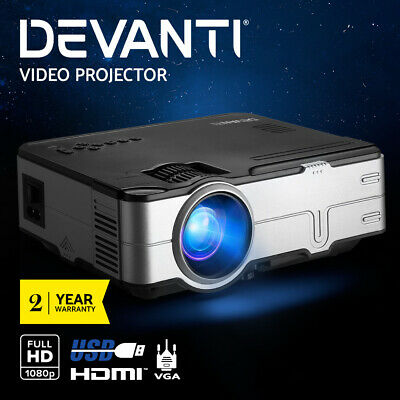 AU112.95 • Buy Devanti Mini Video Projector Portable HD 1080P 2800 Lumens Home USB VGA