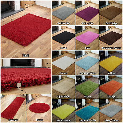 Non Slip Shaggy Plain Non-shed Living Room Bedroom Hallway Rug / Round / Runner • 15.69£