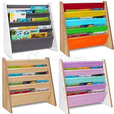Children Kids Book Shelf Sling Storage Rack Organizer Bookcase Bookshelf Wooden • 19.95£