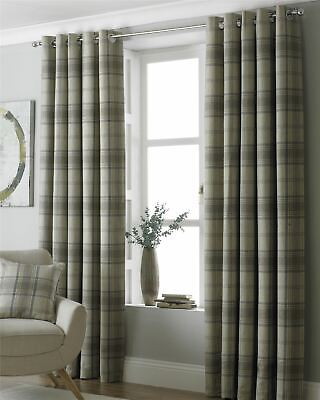 Tartan Check Woven Wool Look Beige Ring Top Curtains *7 Sizes* • 104.95£