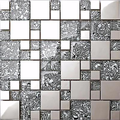Black, White & Stainless Steel Mosaic Tiles Sheet 300x300x8mm (MT0132) • 7.49£