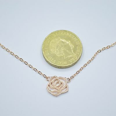 Rose Gold Plated Hollow Cut Out Rose Flower Pendant Chain Necklace 16.9  Gift UK • 4.99£