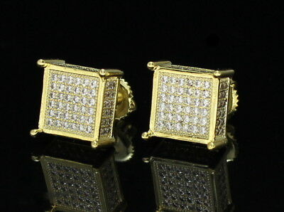 8d3c432ea Mens Square Studs 14k Gold Plated MicroPave Cz Hip Hop Bling Screw Back  Earrings • 9.49
