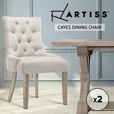 AU249.95 • Buy Artiss Dining Chairs Chair French Provincial Wooden Fabric Retro Cafe Beige 2pc