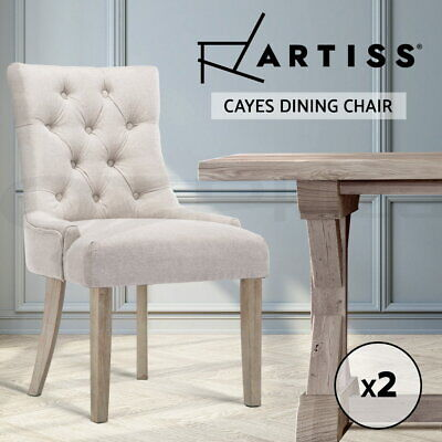 AU245.95 • Buy Dining Chairs Chair French Provincial Wooden Fabric Retro Cafe Beige 2pc