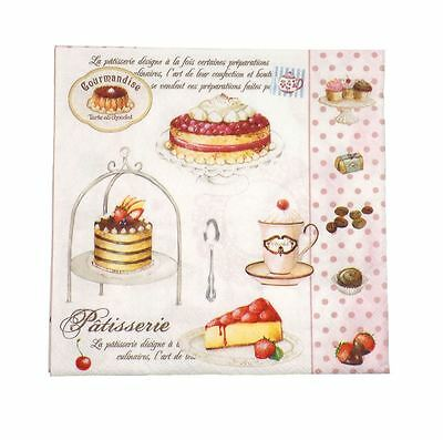 "French-style Cakes Polka Pink 3-ply 20 Paper Napkins Serviettes 13""x13 -33x33cm • 5.95£"