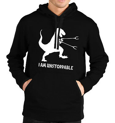 I Am Unstoppable T-Rex Hoodie Funny Gift Dinosaur Arms Litter Picker Men J8 • 19.45£