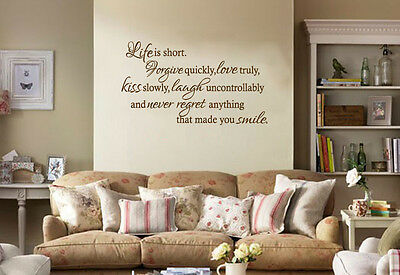 £17.95 • Buy Inspirational Wall Quote  Life Is Short , Wall Art Sticker, Decal,Vinyl Transfer