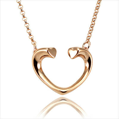 18K 18CT Rose Gold Plated Open Heart Pendant Short Chain Necklace 16  • 4.99£