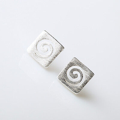 £3.49 • Buy Brushed 925 Sterling Silver PL Cute Small Spiral Swirl Square Stud Earrings Gift