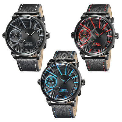 £14.29 • Buy Mens Dual Time Zone Big Face Genuine Leather Quartz Casual Sport Watch OHSEN