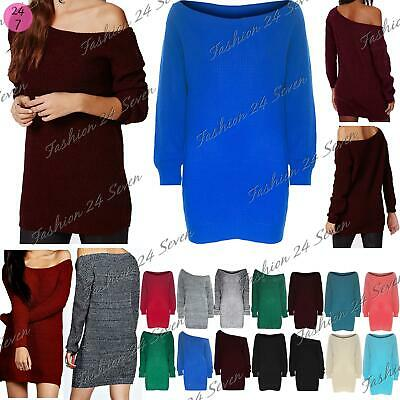 Womens Ladies One Off Shoulder Chunky Knit Oversized Tunic Sweater Jumper Dress • 8.99£
