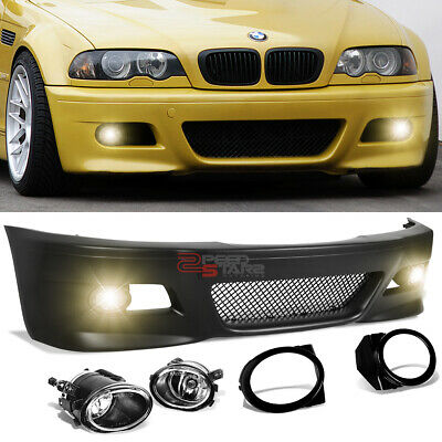 $299.99 • Buy For 99-06 Bmw E46 3-series M3 M-sport Style Front Bumper Grille Cover+fog Light