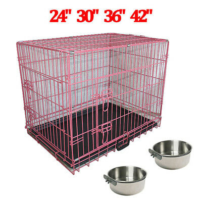 £11.99 • Buy Portable Dog Cage Crate Puppy Pet Folding Carrier Training Cages Feeding Bowls