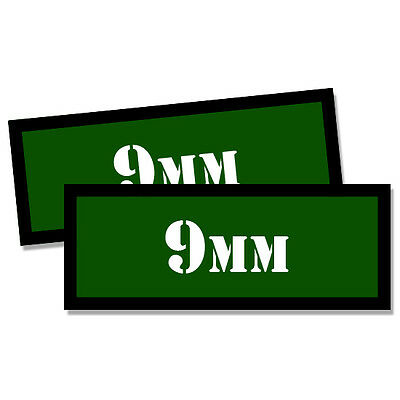$ CDN2.65 • Buy 9MM Ammo Can 2x 9MM Labels Ammunition Case 3 X1.15  GREEN Stickers Decals 2 Pack