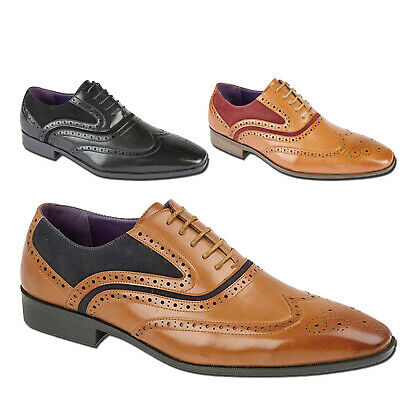 Mens Italian Designer Brogues Formal Smart Lace Ups Faux Leather Suede Shoes  • 19.90£