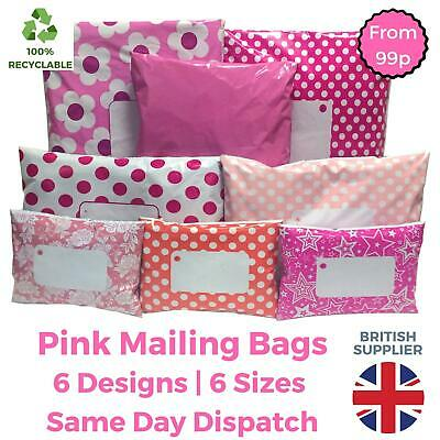£2.98 • Buy PINK Postal Mailing Bags Postage Coloured Plastic Parcel Packaging Shipping Bags