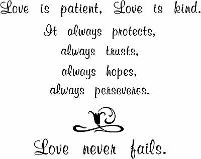 £4.51 • Buy Love Is Patient Never Fails Sticker, Wall Quote Vinyl Decal
