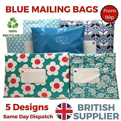 £2.98 • Buy BLUE Postal Plastic Packaging Mailing Bags Coloured Polka Dot Daisy Floral Spot
