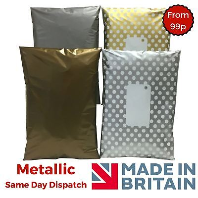 £2.98 • Buy Metallic Mailing Bags - Postage Plastic Parcel Packaging Polka Dot Gold Silver