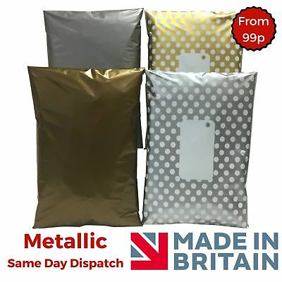 Metallic Post Plastic Mailing Bags Packaging Postage  Polka Dot Gold Silver • 6.88£