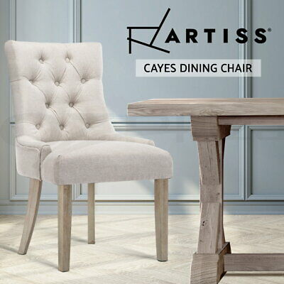 AU139.90 • Buy Artiss Dining Chairs French Provincial Wooden Fabric Retro Cafe Chairs Beige X1
