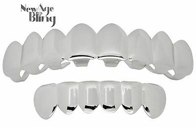 £5.78 • Buy Grillz 8 Teeth Top 6 Bottom Silver Tone W/Molds Joker Caps Mouth Hip Hop Grill