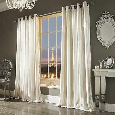 Iliana Oyster Lined Velvet Ring Top Curtains Drapes *5 Sizes* • 79.20£