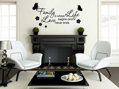 £17.95 • Buy Family Wall Quote - Family Is Where.. Wall Art Sticker, Decal, Modern Transfer