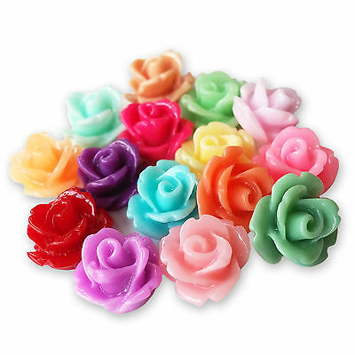 £2.99 • Buy 10mm Lucite Flower SMALL RESIN ROSE BUD Cabochons Flatback Embellishments Craft