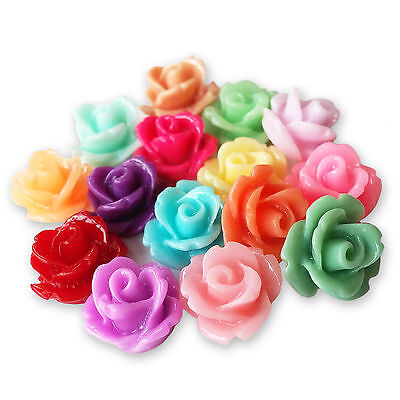 10mm Lucite Flower SMALL RESIN ROSE BUD Cabochons Flatback Embellishments Craft • 2.99£