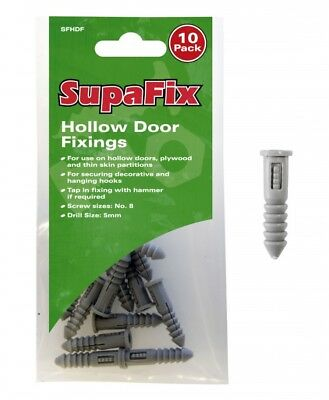SupaFix Pack Of 10 Hollow Door Fixings Drill Size 5mm For Hollow Doors Plywood • 2.99£
