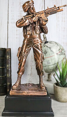 $55.99 • Buy Military Decor US Army Soldier Aiming With Rifle Statue 11.5 Tall With Base