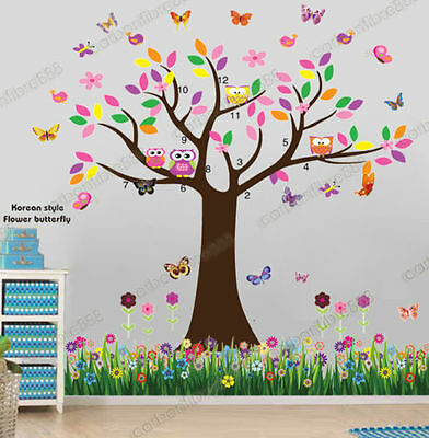 Huge Owl Flower Tree Butterfly&Grass Wall Stickers Art Decal Kids Nursery Decor • 10.98£