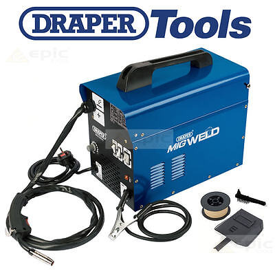 DRAPER 100Amp Gasless/Gas Mig Welder Welding Machine + Flux Wire/Tip/Mask 16057 • 149.95£