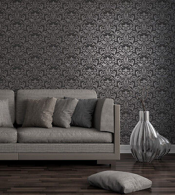 Fine Decor Wentworth Textured Glitter Black/Silver  Damask FD41700 • 12.99£