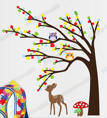 Owl Tree Deer Woodland Animal Wall Stickers Art Mural Decal Kids Nursery Decor • 7.98£