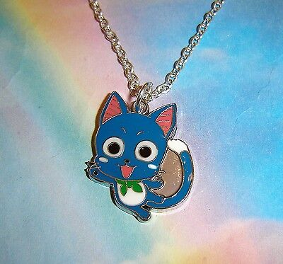 £3.99 • Buy Cute Happy The Blue Cat Fairy Tail Necklace Japanese Anime In Gift Bag