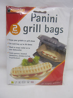 New Toastabags Panini Griddle And Grill Toastie Toasted Sandwich Bags Pk 2 • 1.99£