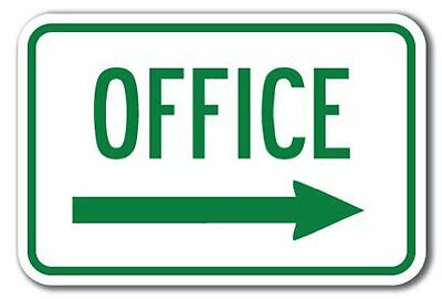 Office With Right Arrow Aluminum 8 X 12 Metal Novelty Sign • 9.99$