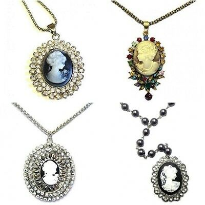 £5.98 • Buy Gold Silver Vintage Antique Cameo Necklace Pendant Pearl Diamante Gift Jewelry