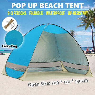 AU28.99 • Buy Pop Up Portable Beach Tent Canopy Sun Shade Shelter Summer Camping 2-3 Persons