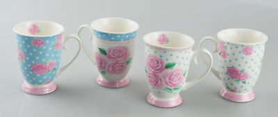 New Bone China Mugs Set Of 4 Afternoon Tea Style Coffee Home Kitchen Office Cups • 11.49£